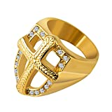HZMAN Mens Knights Templar Red Cross Ring 18k Real Gold Plated Cz Inlay Stainless Steel Shield Band, Size 7-14 (Gold, 8)