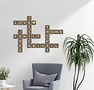 3D Personalized Dark Brown Wooden scrabble tiles | Wooden Letters | Custom family name sign | Scrabble letters | Wall art | Alphabet letters