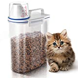 GLCON Dog Food Storage, Cat Food Container - Airtight Pet Food Storage Container with Pour Spout Measuring Cup BPA Free Plastic Dog Cat Dry Birds Fish