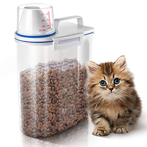 Cat Food Storage Container 2L- GLCON Airtight Pet Food Container with Pour Spout Measuring Cup for Cat Birds Fish Little Dog BPA Free
