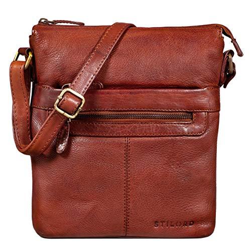 STILORD 'Morgan' Vintage Umhängetasche Damen Klein Leder Handtasche Ledertasche Crossbody Bag Elegante Schultertasche Tasche DIN A5 Echt Leder, Farbe:Cognac - Used
