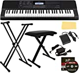 Casio CT-X700 Portable Keyboard Bundle with Stand, Bench, Sustain Pedal, Power Adapter, Austin Bazaar Instructional DVD, and Polishing Cloth (Renewed)