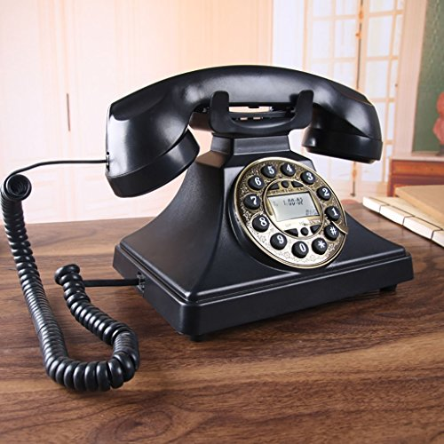YSNUK Teléfono Europeo Vintage Teléfono Fijo de la Oficina doméstica Negro Metal Rotación Teléfono rotatorio (Color : A)