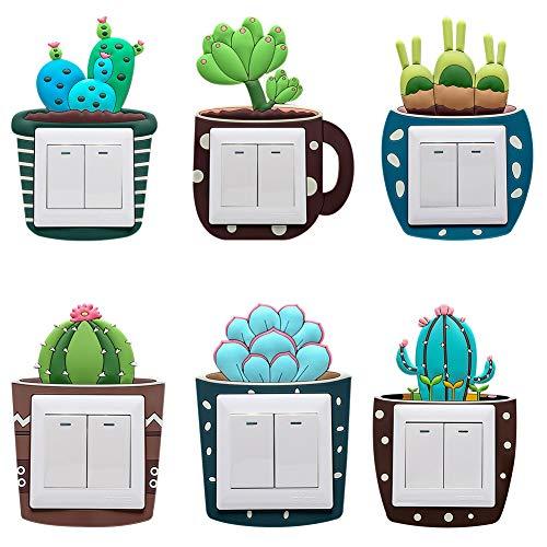 6 Piezas Pegatinas de Interruptor Vinilos para Interruptores de La Luz Etiquetas Engomadas del Interruptor en Forma de Cactus Planta para Decoración de Interruptor de Dormitorio Sala de Estar