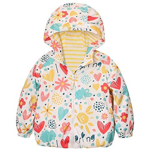 Catawe Kinder Jacke Junge Mädchen Regenjacke Frühling Herbst Winter Windjacke Süßem Pattern Mantel für Körpergröße: Label 90/Age 2-3T, Gelb
