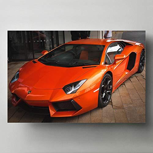 zuomo Arte de Pared Moderno Pinturas en Lienzo Aventador Orange Vista Frontal Supercar Imagen Carteles e Impresiones para la decoración de la Sala de Estar 50x75cm Sin Marco