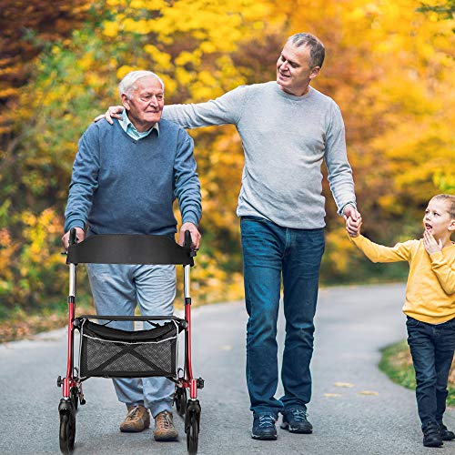 "RINKMO Rollator Walkers for Seniors- Rollator Walker with Seat 8"" Wheels- Easy Folding Senior Walker with Padded Backrest- Lightweight Mobility Walking Aid for Adult Elderly, Aluminum Frame, Red"