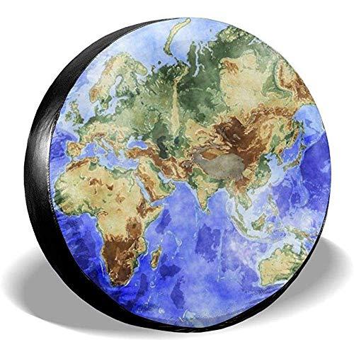 Fall Ing Spare Tire Cover-Universal Wiel Tire Cover Protector-Map Van De Wereld Fit Voor,Trailer, Rv, Suv En Veel Voertuig