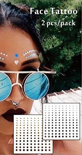Tatouage Métalliques de visage Tatouages Flash Bijoux de Visage f09 Convient pour les fêtes, spectacles, concerts, performance scénique.