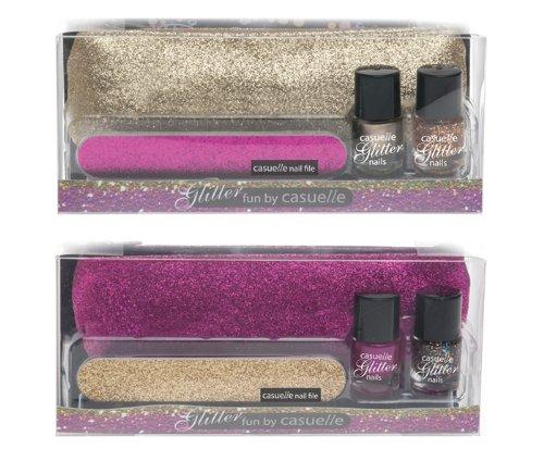 Treffina Casuelle Kosmetikkoffer Bleistift Fall mit 2x Glitter Nagellack 5ml