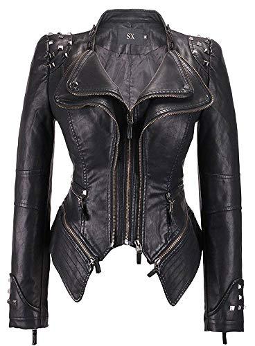 W&TT Chaqueta Motera Punk con Tachuelas Retro para Mujer Abrigo de Cuero sintético con Cremallera de Solapa de Doble Capa,Black1,L