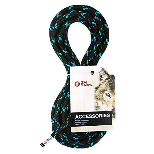 GM CLIMBING 8mm Accessory Cord Rope 19kN Double Braid Pre Cut CE/UIAA (Black, 20ft 8mm)