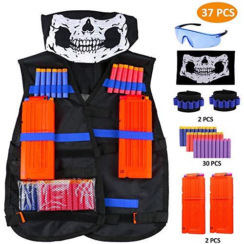 Taktische Weste Jacke Set Elite Set, Weste,Taktische Weste, Nerf Zubehör Set Kids Tactical Vest Mit 60 Er Darts + 1 Brille + 2 * 6 Weiche Darts + 1 Maske,Schwarz