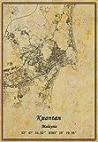 Malaysia Kuantan Landkarte, Wandkunst, Poster,
