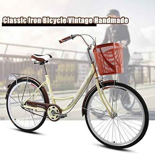 TTLOVE 24IN Unisex Classic Eisenfahrrad Retro Fahrrad Einzigartiger Art Deco City Bike Damenfahrrad Komfort Fahrrad mit Korb,Retro-Design