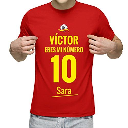 Camiseta Personalizada con Nombre y la Frase Eres mi Número 10 (Rojo): Amazon.es: Ropa y accesorios
