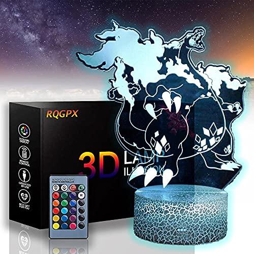 Pokemon lámpara Charizard 3D ilusión luces de noche para niños tres patrones y 16 cambio de color lámpara decoración para niños y habitación decoración