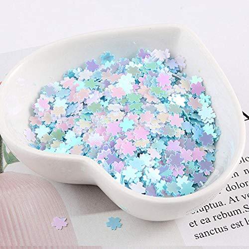 5 mm Sakura pailletten Nail Art Glitter Manicure zoete kersenbloesem sieraden vulling voor DIY kaart maken ambachten Confetti, AB wit blauw, 5 mm Sakura