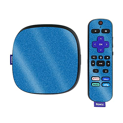 MightySkins Glossy Glitter Skin Compatible with Roku Ultra HDR 4K Streaming Media Player (2020) - Solid Blue | Protective, Durable High-Gloss Glitter Finish | Easy to Apply and Change Styles | Made i