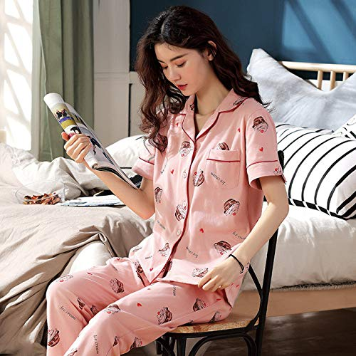 JFCDB Nachthemd Zomer Vrouwen Pyjama Gebreide Katoen Gedrukt Dames Pyjama Korte Mouw Casual Zachte Grote Maat Dames Nachtkleding Pakken, SJS2047, M
