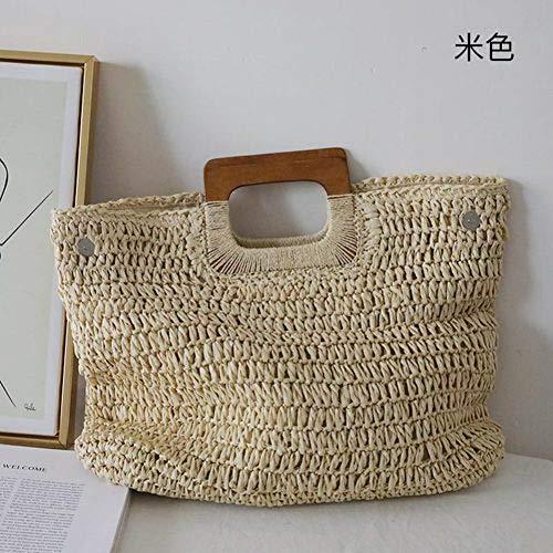 PCBDFQ damestas karamelkleurige handtas van stro voor de zomer met hoge capaciteit en retro strandtas