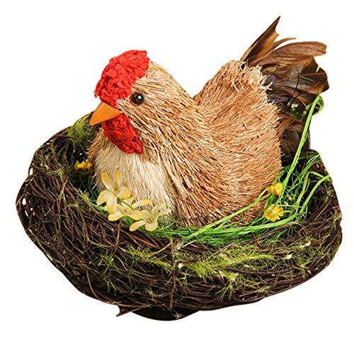 Zhantie Hecho a mano proceso de tejido de paja lindo pequeño pollo pato cops set aleatorio