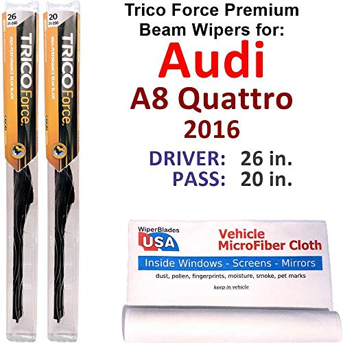 Premium Beam Wiper Blades for 2016 Audi A8 Quattro Set Trico Force Beam Blades Wipers Set Bundled with MicroFiber Interior Car Cloth