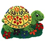 Latch Hook Rug Kits for Adults DIY Crochet Yarn Kits Pre-Printed Cute Turtle Pattern Canvas Tapestry Embroidery Set Home Sofa Decor 20.5'' X 15''