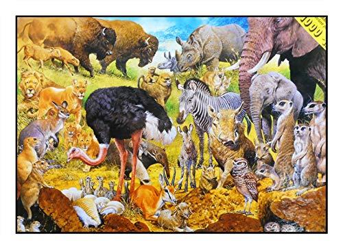 N / A James Hamilton 1000 T. Puzzle 72 x 51 cm Steppe Africa Bison Elefante Nashorn Zebra Struß Grasslands 1510