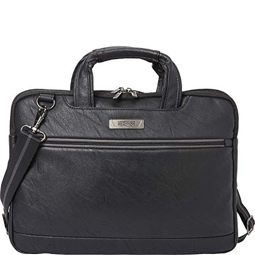 Kenneth Cole Reaction ProTec Faux Pebbled Leather Slim 16' Laptop Business Briefcase / Tablet Bag, Black