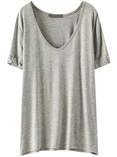 SheIn Women's Summer Short Sleeve Loose Casual Tee T-Shirt Light Grey X-Small