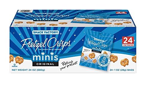 Snack Factory Crunchy Pretzel Crisps Crackers, Original Minis, Single Serve - (24 Bags of 1 OZ Per Box (1 Box))