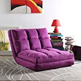 Loungie Micro-Suede 5-Position Adjustable Convertible Flip Chair, Sleeper Dorm Bed Couch Lounger Sofa, Purple
