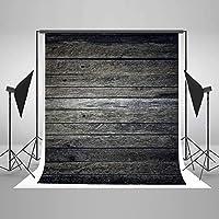 HD 5ft(W) x7ft(H) ダークウッドテクスチャ背景 コットン木製背景シームレスしわのない写真スタジオの小道具