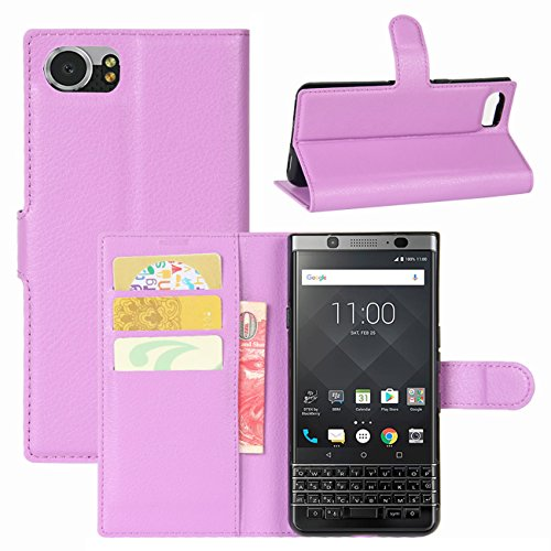 HualuBro BlackBerry KEYone Hülle, Leder Brieftasche Etui LederHülle Tasche Schutzhülle HandyHülle [Standfunktion] Handytasche Leather Wallet Flip Hülle Cover für BlackBerry KEYone (Violett)