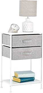 mDesign Night Stand/End Table Storage Tower - Sturdy Steel Frame, Wood Top, Easy Pull Fabric Bins - Organizer Unit for Bedroom, Hallway, Entryway, Closets - Textured Print - 2 Drawers, Shelf - Gray