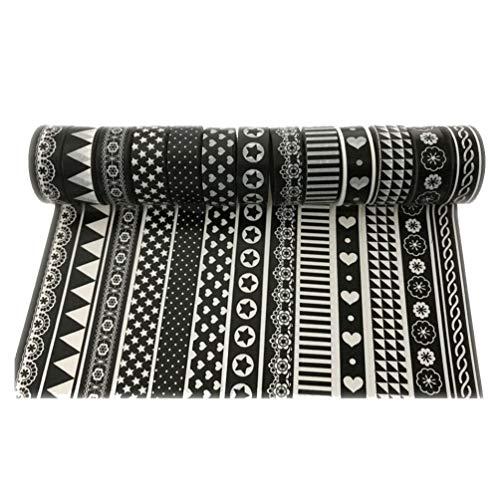 SUPVOX Washi Tape Set DIY Geschenkpapier Aufkleber Klebeband Scrapbooking Basteln Klebeband Schwarz Weiß bedruckt (zufällige Farbe)