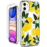 GiiKa iPhone 11 Case, Clear Shockproof Hard PC Case with TPU Bumper Heavy Duty Protective Floral Women Girls Bumper Cover Phone Case for iPhone 11, Yellow Lemon