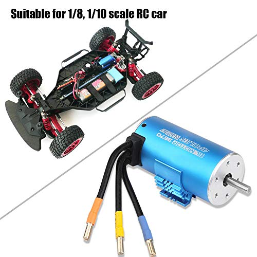Dilwe 4 Pole 12 Slot RC Auto Motor 3670 2650KV Classic Wasserdichte High-Torque Brushless Motoren mit Kühler für 1/8 1/10 Fernbedienung Autos