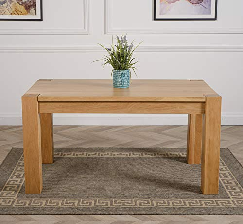 Kuba Solid Oak Dining Table 150cm x 85cm | Chunky Family Sized Wooden Dining Room Table by Oak Furniture King