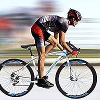 マウンテンバイクロード自転車バイクサイクリングスポーツ自転車アダルトトレイルロードバイク21スピードドライブトレインダブル油圧式ディスクブレーキ-白い
