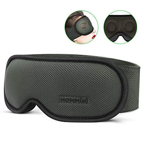 HOMMINI Schlafmaske Damen und Herren, Premium 3D Schlafbrille Nachtmaske,100% Lichtschutz, super weich und bequem, Augenmaske für Reisen, Schichtarbeit und Nickerchen, Inklusive Ohrstöpseln