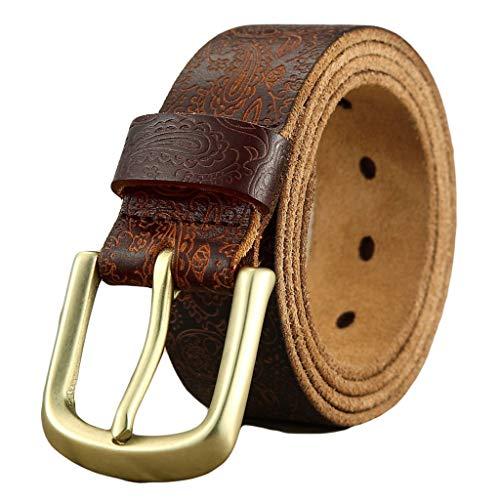 GDSSX Cinturones de Cuero genuinos Vintage for Hombres con Cinturones de Hebilla en Relieve for Pantalones de Jeans Perfecto Regalo (Color : Brown, Size : 110cm)