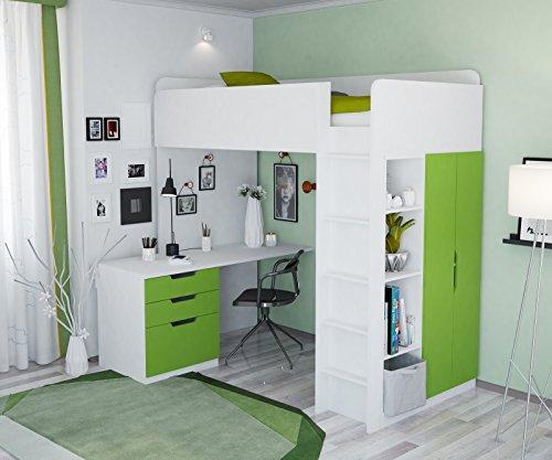 Polini Kids Kinder Hochbett mit Kleiderschrank und Schreibtisch Komplettprogramme 5 in 1