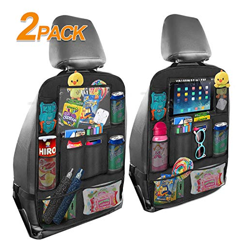 MTWOTHAN Car Backseat Organizer, Car Back Seat Protector Organizer Kick Mats with Clear Touch Screen Tablet Holder, 9 Mesh Storage Pockets for Kids Toy, Book, Bottle (2 Pack)