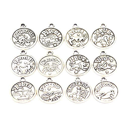 24 PCS Metal Zodiac Charms for Jewelry Making Vintage Constellation Pendant...