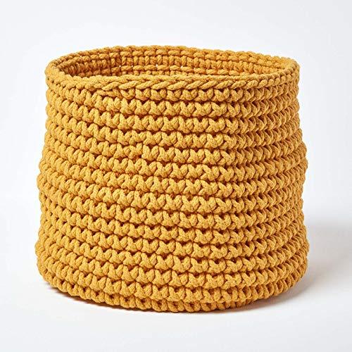 Homescapes Grand Panier de rangement rond tressé en tricot Jaune 100% coton - 42 x 37 cm