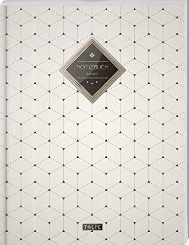 """TULPE Kariertes Notizbuch A4 """"C110 Schlichtes Muster"""" (140+ Seiten, Vintage Softcover, Doppelrand, Seitenzahlen, Register - Dickes Notizheft, ... Schulheft, Tagebuch, Kariertes Heft Nr 26)"""