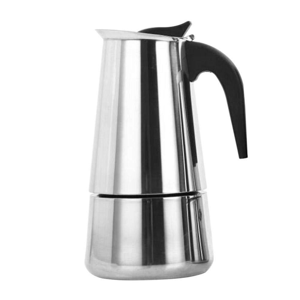 Ahomi - Cafetera de acero inoxidable con filtro superior de moca, cafetera italiana, acero inoxidable, Plateado, 200 ml: Amazon.es: Hogar