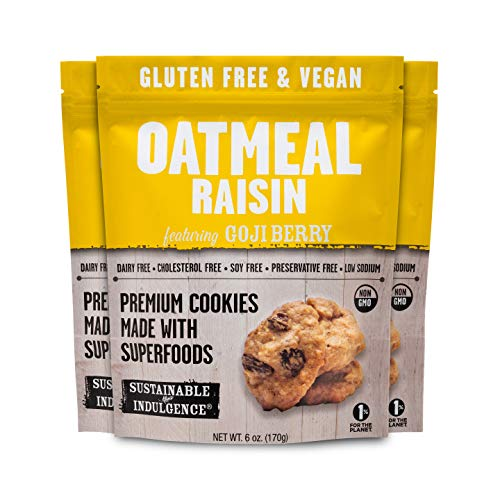 Sustainable Indulgence - Gluten Free, Vegan Cookies with Superfoods, Oatmeal Raisin (Pack of 3)